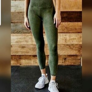 NWOT Free People Shanti Green Leggings XS/S